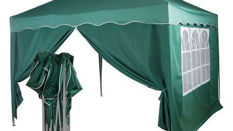 Zahradní párty stan nůžkový 3x3 m + 2 boční stěny - zelený