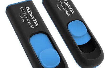 USB Flash ADATA DashDrive UV128 128GB černý/modrý (AUV128-128G-RBE)