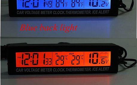 Voltmetr s ukazatelem času a teploměrem