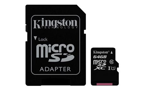 Paměťová karta Kingston MicroSDXC 64GB UHS-I U1 (45R/10W) + adapter (SDC10G2/64GB)