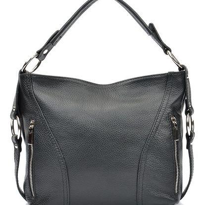 Černá kožená kabelka Carla Ferreri Valeria