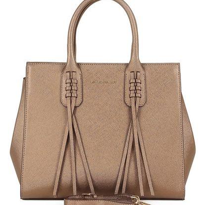 Meděně hnědá kabelka ze saffiano kůže Laura Ashley Bardsley