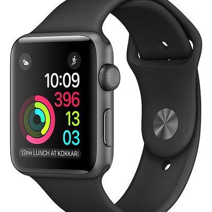 Chytré hodinky Apple Watch Series 1 42mm pouzdro z vesmírně šedého hliníku – černý sportovní řemínek (MP032CN/A)