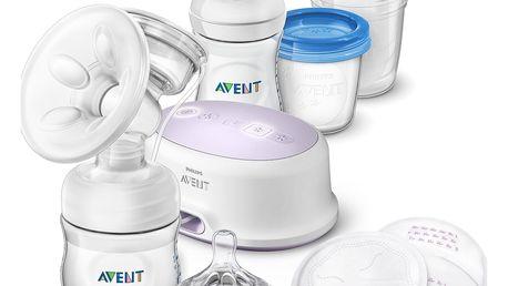 PHILIPS AVENT Odsávačka mateřského mléka Natural elektrická - sada pro kojení