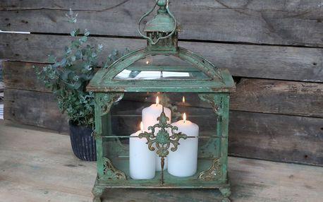 Chic Antique Velká lucerna Monogram Antique Green, zelená barva, sklo, kov