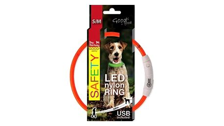 Dog Fantasy LED nylonový S/M oranžový