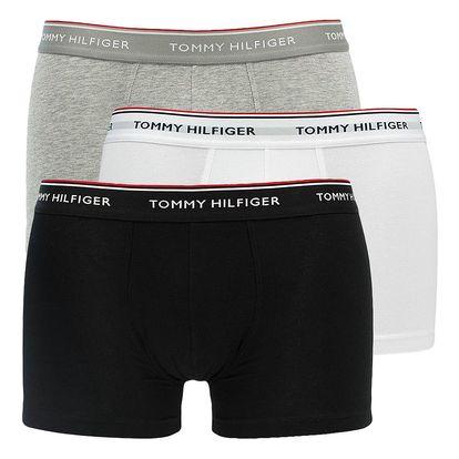 3PACK pánské boxerky Tommy Hilfiger low rise trunk černo šedo bílé