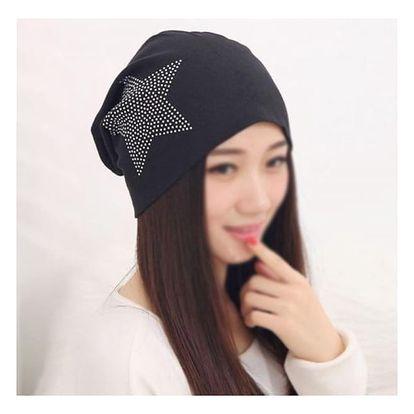 Dámská čepice s hvězdou - 6 barev