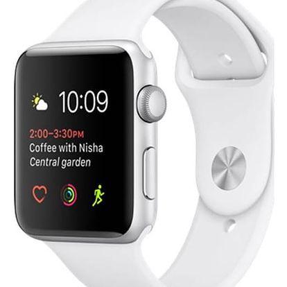 Apple Watch Series 1 42mm pouzdro ze stříbrného hliníku – bílý sportovní řemínek (MNNL2CN/A)