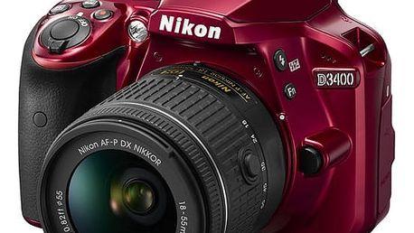 Digitální fotoaparát Nikon D3400 + AF-P 18-55 VR + 4x čištění čipu zdarma červený (VBA491K001)