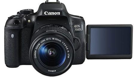 Digitální fotoaparát Canon EOS 750D + 18-55 IS STM + ramenní popruh JOBY Zdarma černý