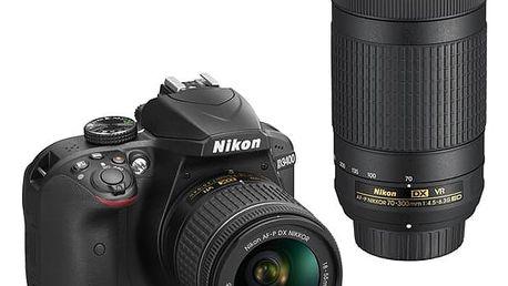Digitální fotoaparát Nikon D3400 + AF-P 18-55 VR + 70-300 VR + 4x čištění čipu zdarma černý (VBA490K005)