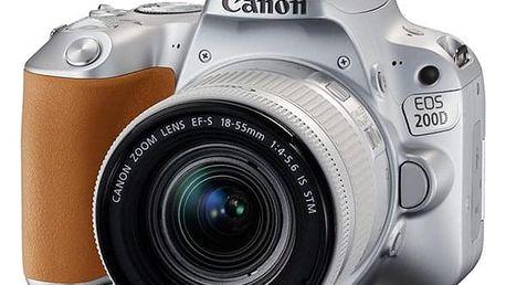 Digitální fotoaparát Canon 200D + 18-55 IS STM (2256C001) stříbrný Pouzdro na foto/video Canon SB100 černé v hodnotě 688 Kč + DOPRAVA ZDARMA