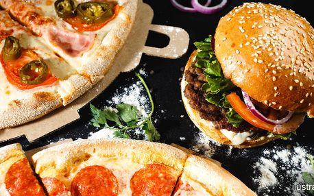 2 pizzy nebo burgery dle výběru