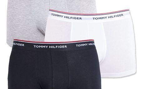 3PACK pánské boxerky Tommy Hilfiger trunk černo bílo šedé
