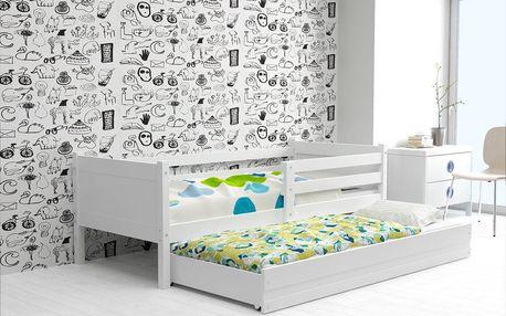 Dětská postel s přistýlkou RINO 2 80x190 cm, bílá/růžová