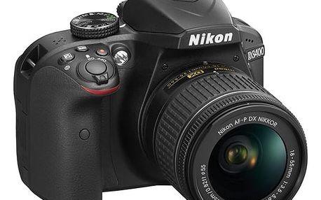 Digitální fotoaparát Nikon D3400 + AF-P 18-55 NON VR + 4x čištění čipu zdarma černý (VBA490K002)