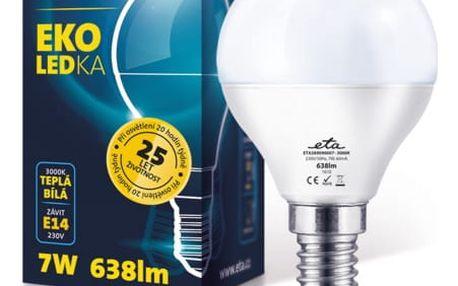 Žárovka LED ETA EKO LEDka mini globe, 7W, E14, teplá bílá (G45-PR-638-16A)