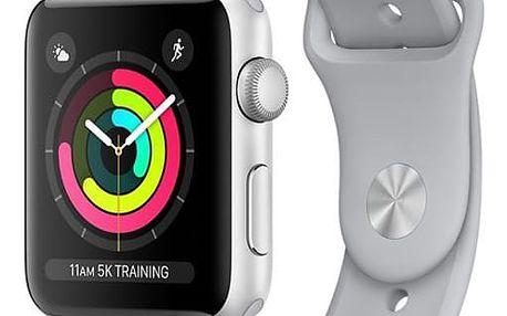 Chytré hodinky Apple Watch Series 3 GPS 42mm pouzdro ze stříbrného hliníku - mlhově šedý sportovní řemínek (MQL02CN/A)