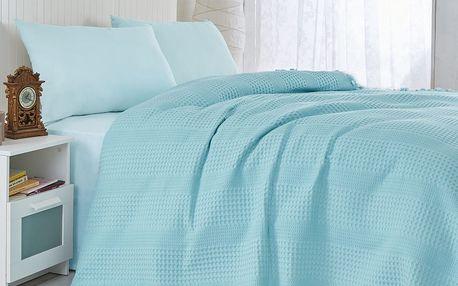 Tyrkysový lehký přehoz přes postel Pique, 220x240cm
