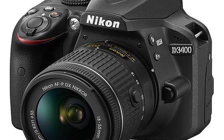 Digitální fotoaparát Nikon D3400 + AF-P 18-55 VR + 4x čištění čipu zdarma černý (VBA490K001)