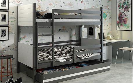 Patrová postel CLIR 80x190 cm, grafitová/bílá Pěnová matrace