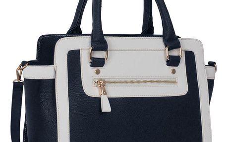 Bílomodrá kabelka L&S Bags Bella Navy & White