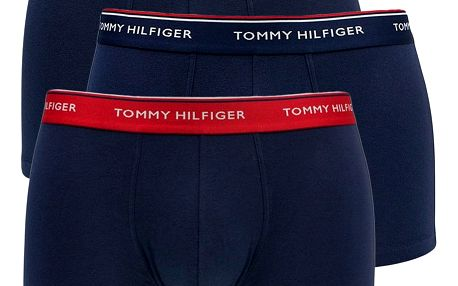 3PACK pánské boxerky Tommy Hilfiger trunk tmavě modré s basic gumou