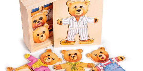 Dřevěné puzzle Převleč si medvěda
