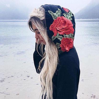 Mikina s kapucí s výšivkou růží