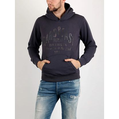 Mikina Replay ENZIME WASHED BRUSHED FLEECE Šedá