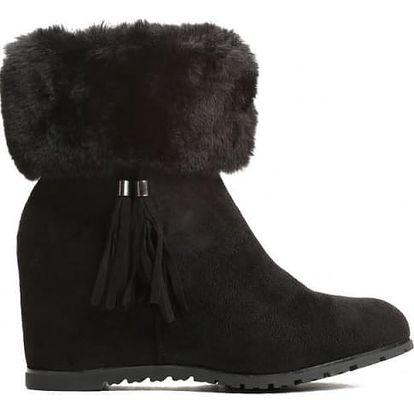 Dámské černé kotníkové boty na klínku Aleah 062