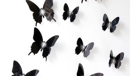 Sada 12 černých adhezivních 3D samolepek Ambiance Fanastick Wall Butterflies