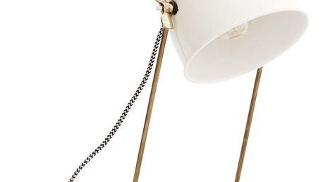 MADAM STOLTZ Stolní lampa Brass/off white, zlatá barva, kov
