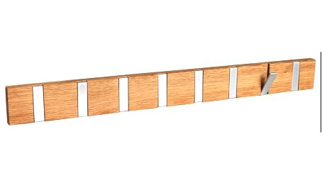 Přírodní dubový věšák s 8 výklopnými háčky Folke Odin