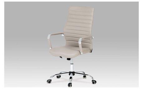 Kancelářská židle, koženka lanýžová, chrom, houpací mechanismus KA-Z615 LAN1 Autronic