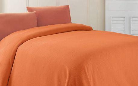 Oranžový lehký přehoz přes postel Oranj, 200x230cm
