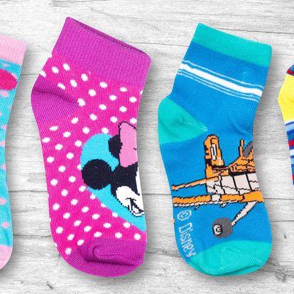 Dvoje dětské nízké ponožky s pohádkovými motivy
