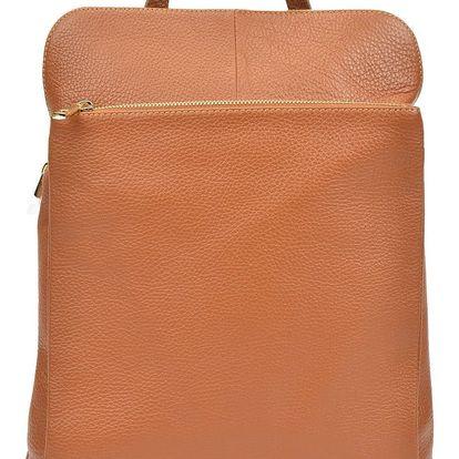 Koňakově hnědý kožený batoh Isabella Rhea Carrie