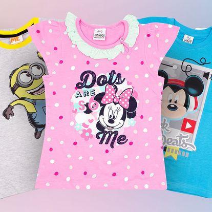 Dětská bavlněná trička s pohádkovými motivy