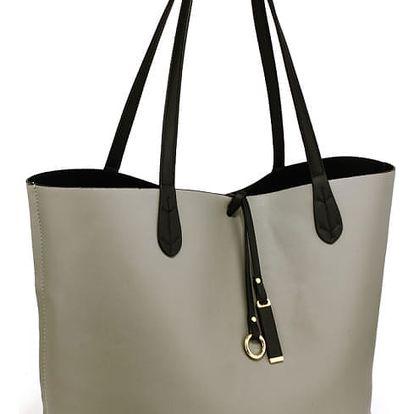 SET: Dámská černošedá oboustranná kabelka Kylie 567