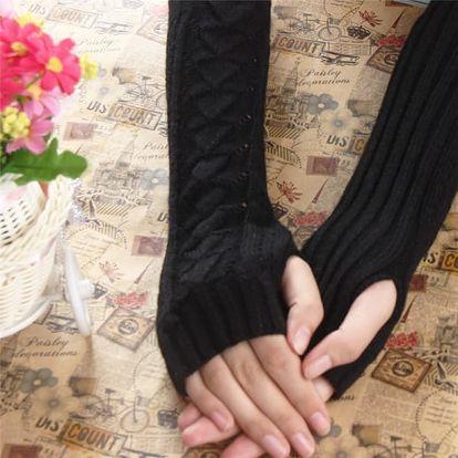 Dámské pletené rukavičky na dlaně a předloktí - černá barva - dodání do 2 dnů