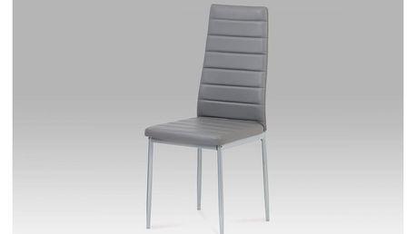 Jídelní židle, koženka tm. šedá / šedý lak DCL-117 GREY Autronic