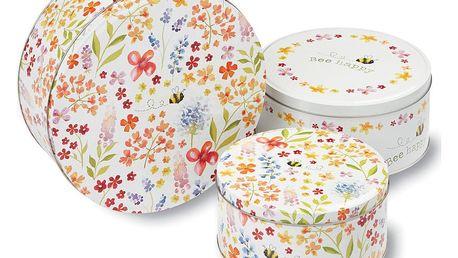 Sada 3 kovových dóz na cukroví Cooksmart England Flowers