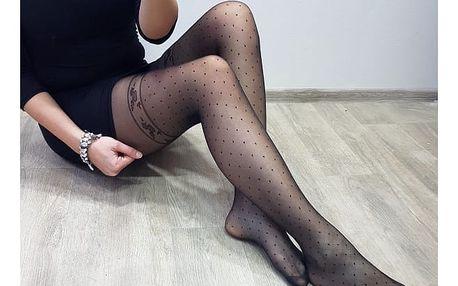 Dámské sexy černé punčochy se vzorem Beauty