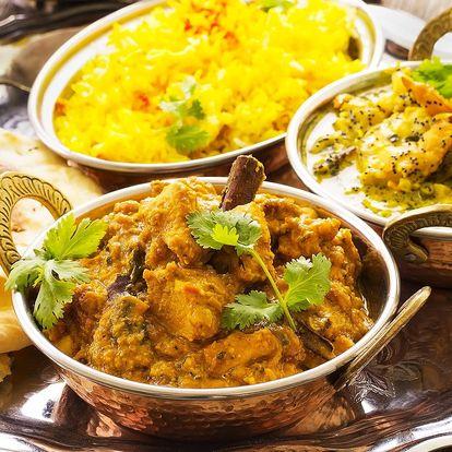 Indické menu pro dva: vegetariánské nebo kuřecí