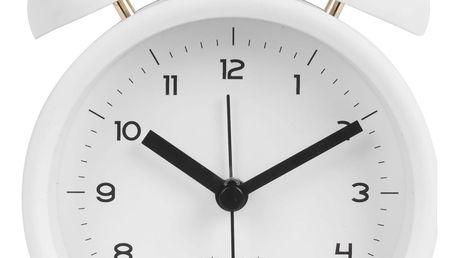 Karlsson Designový budík Classic Bell White, bílá barva, zlatá barva, sklo, kov