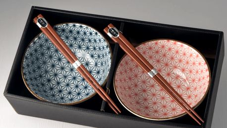 MIJ Set misek Asanoha Design s hůlkami červená a modrá 2 ks