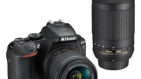 Digitální fotoaparát Nikon D5600 + 18-55 AF-P VR + 70-300 AF-P černý (VBA500K004)