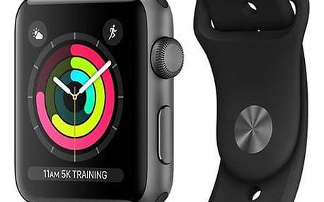 Chytré hodinky Apple Watch Series 3 GPS 42mm pouzdro z vesmírně šedého hliníku - černý sportovní řemínek (MQL12CN/A)